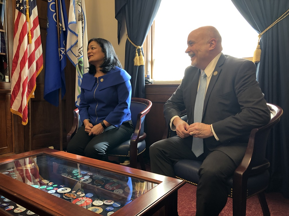 Image result for PHOTOS OF Reps. Pramila Jayapal (D-Wash.) and Mark Pocan (D-Wis.)