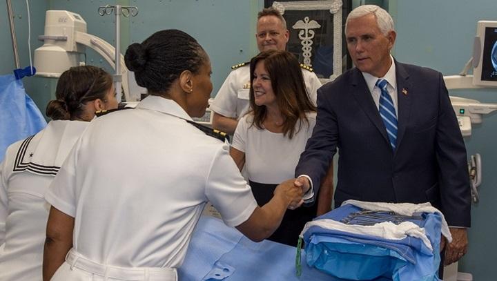 Pence greets sailors